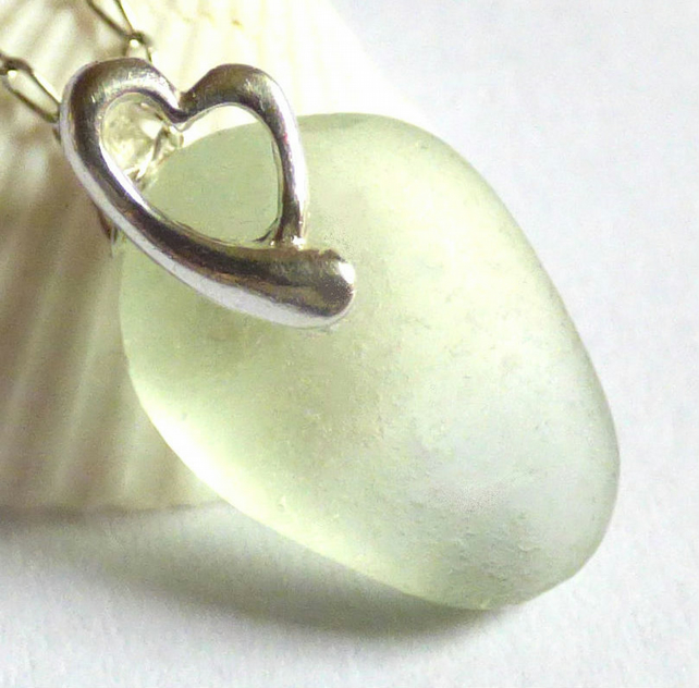 Sea Glass Pendant Necklace with Sterling Silver Heart  Bail - P170122