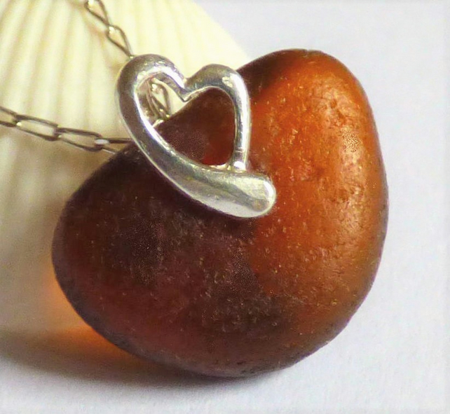 Brown Sea Glass Pendant Necklace with Sterling Silver Heart  Bail - P170123