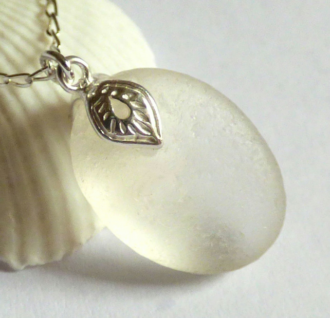 White Sea Glass Pendant Necklace with Ornate Sterling Silver Leaf Bail - P170127