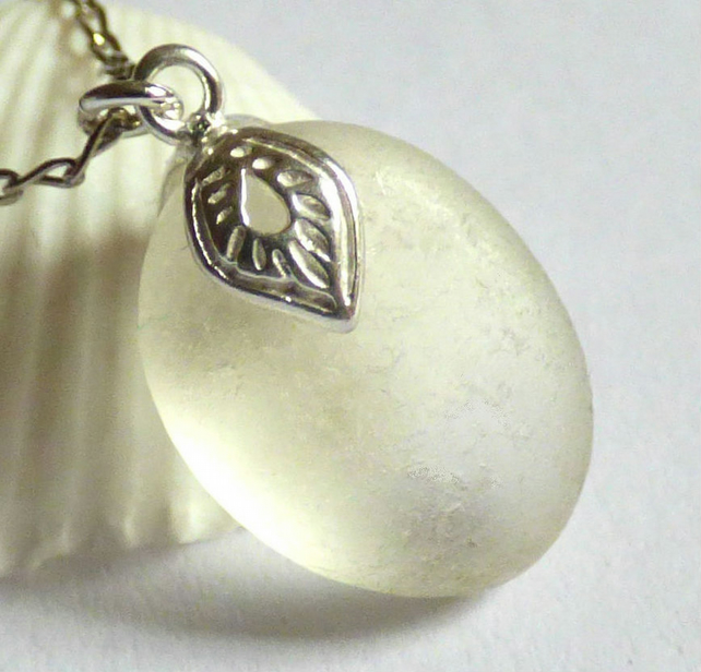 White Sea Glass Pendant Necklace with Ornate Sterling Silver Leaf Bail - P170128