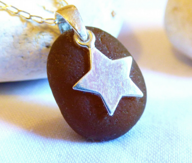 Brown Sea Glass Pendant Necklace with Sterling Silver Star Charm PE16026