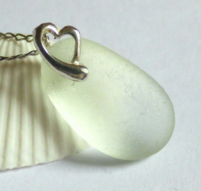 White Sea Glass Pendant Necklace with Sterling Silver Heart  Bail - P170115