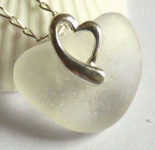 White Sea Glass Pendant Necklace with Sterling Silver Heart  Bail - P170117
