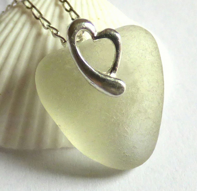 Sea Glass Pendant Necklace with Sterling Silver Heart  Bail - P170119