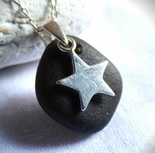 Black Sea Glass Pendant Necklace with Sterling Silver Star Charm PG16004