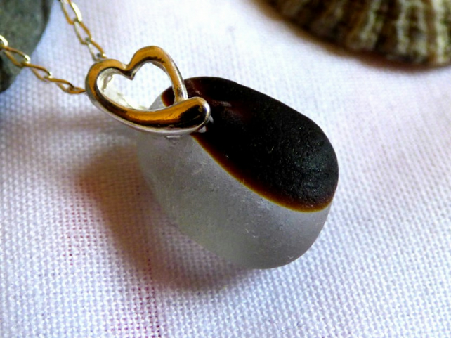 White & Brown Sea Glass Pendant Necklace - Sterling Silver Heart  Bail - PG16001