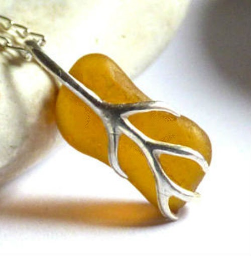 Yellow-Amber Sea Glass Pendant Necklace with Sterling Silver Vine Bail - PG17006
