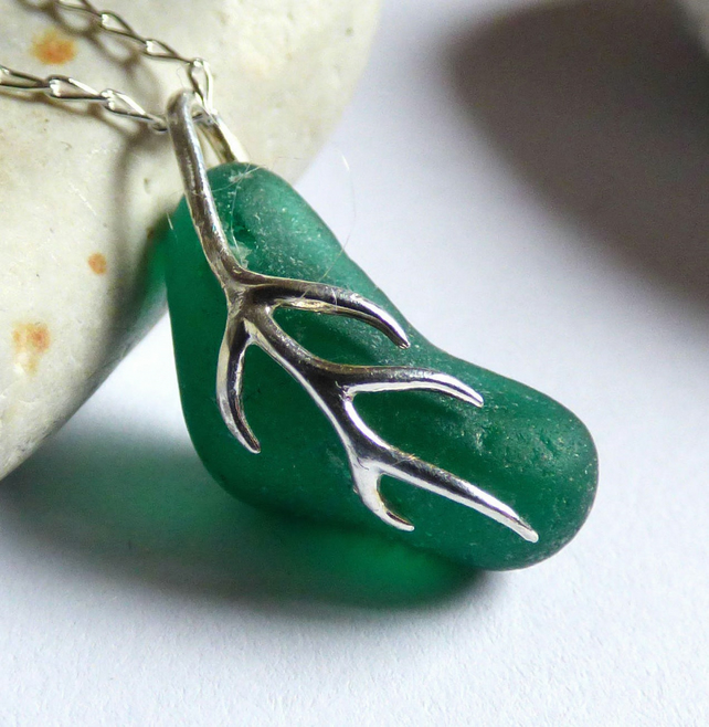 Green Sea Glass Pendant Necklace with Sterling Silver Vine Bail - PI17012
