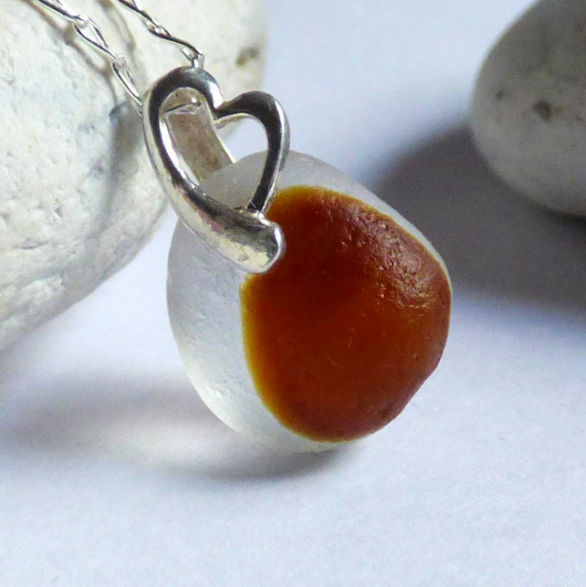 White & Brown Sea Glass Pendant Necklace - Sterling Silver Heart  Bail - PJ17008