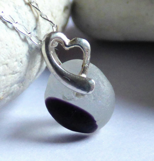 Black & White Sea Glass Pendant Necklace - Sterling Silver Heart  Bail - PJ17009