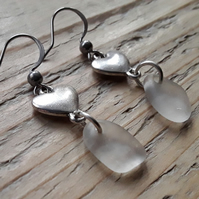 Seaglass & Love Heart Earrings