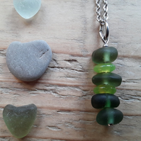 Cute Seaglass Stack Pendant - Green