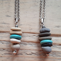 Pebble Stacked Pendant - Turquoise 1 & 2