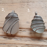 Wrapped Seaglass Pendant 1, 2, 3 & 4