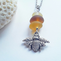 Honey Bee Pendant- Yellow Seaglass