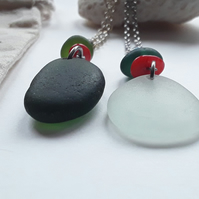 Large Seaglass Pendant- Pure Frosty White or Deep Forest Green