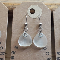 Seaglass Earrings: Frosty White