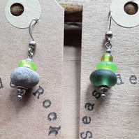 Seaglass & Pebble Earrings - For the lover of the colour green
