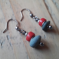 Beach Pebble Earrings with Red