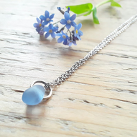 Forget-me-not Blue Seaglass Pendant