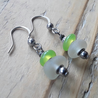 Seaglass Earrings: Lime-green