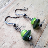 Seaglass Earrings: Green & Lime
