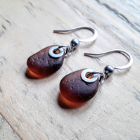 Seaglass Earrings: Deep Amber