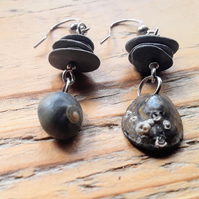 Beach Boho Dangle Earrings: Slate & Shell