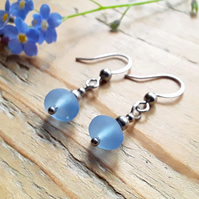 Seaglass Earrings: Forget-me-not Blue