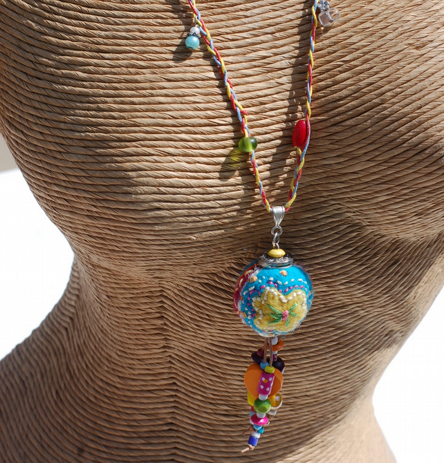 Colourful Boho Necklace With Felted And Embroidered Bead