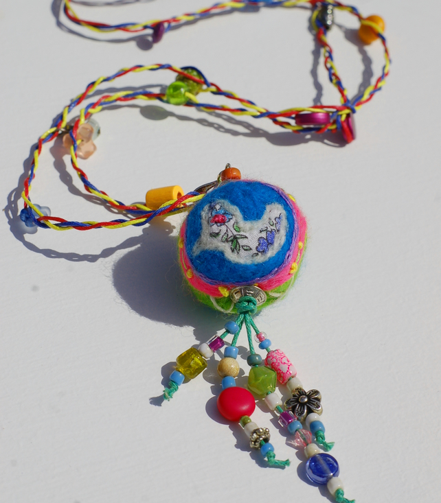 Boho Textile Necklace With Birdy Bead.