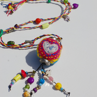 Colourful Boho Necklace With Handmade felted Bead.