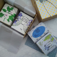 Four Handmade Soaps, 3 Coconut and 1 Glycerine Vegan Soap. Christmas Gift Box.