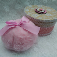 Handmade Pink Powder Puff and Powder Puff. Ready to Gift.