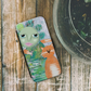 cat iphone wallet case, cat iphone case, modern iphone case, abstract, blue