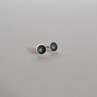 Sterling Silver & Oxidised Domed Stud Earrings - Medium