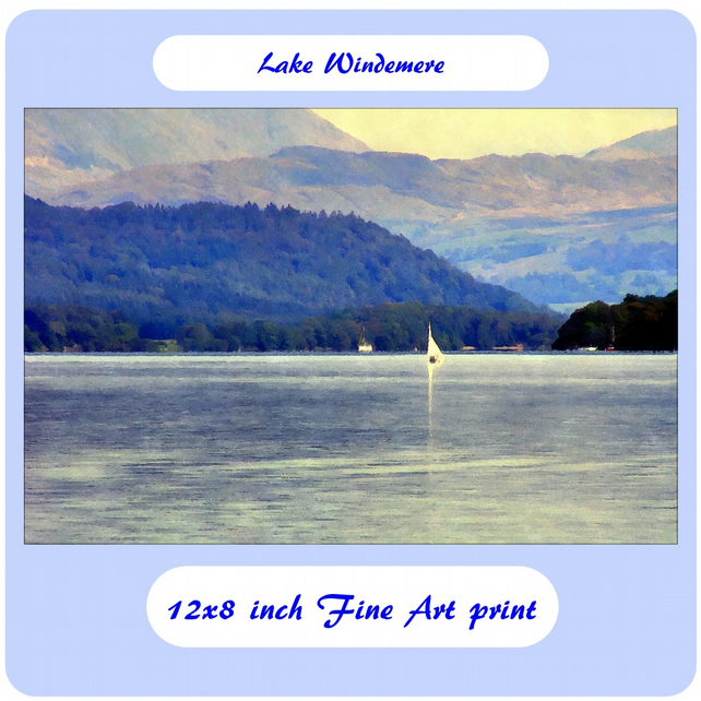 Lake Windemere - 12x8 inch (approx. A4) Fine Art Print