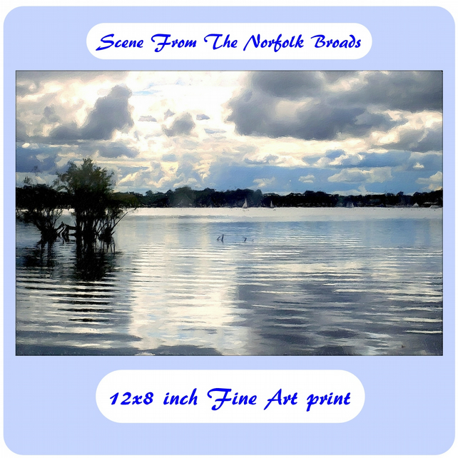 Scene From The Norfolk Broads - 12x8 inch (approx. A4) Fine Art Print