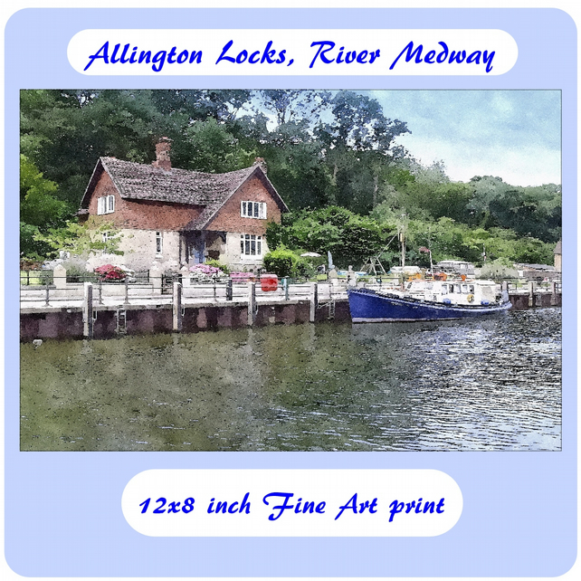 Allington Lock, River Medway  - 12x8 inch (approx. A4) Fine Art Print