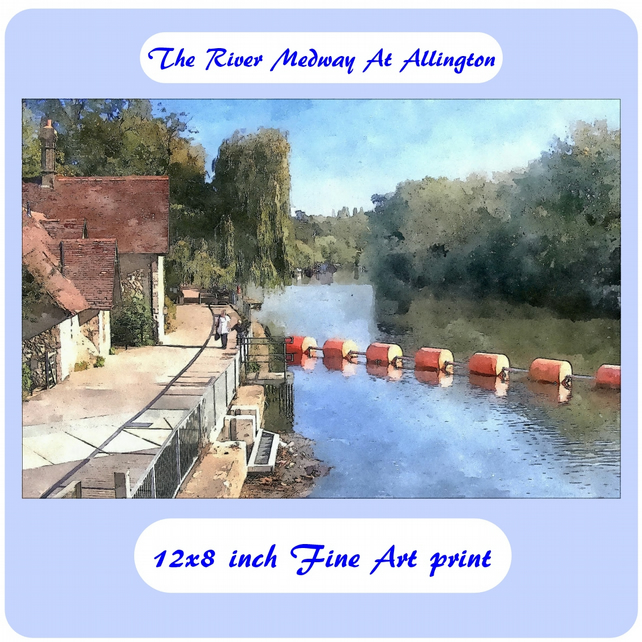 The River Medway At Allington - 12x8 inch (approx. A4) Fine Art Print