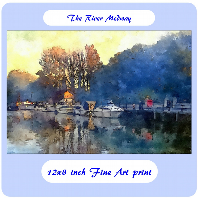 The River Medway  - 12x8 inch (approx. A4) Fine Art Print
