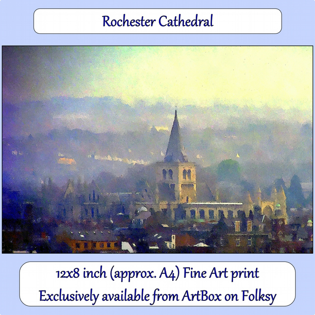 Rochester Cathedral - 12x8 inch (approx. A4) Fine Art Print