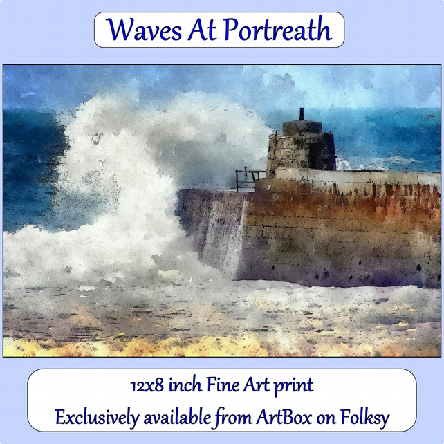 Waves At Portreath, Cornwall  - 12x8 inch (approx. A4) Fine Art Print