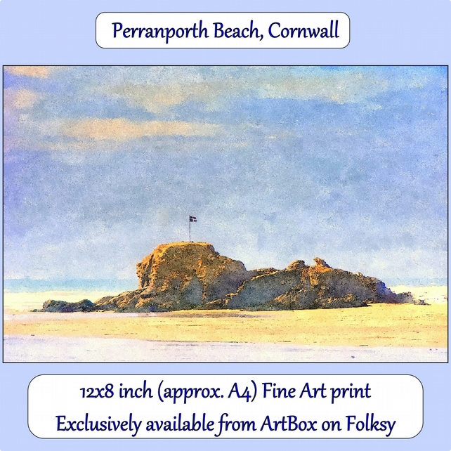 The Beach At Perranporth, Cornwall  - 12x8 inch (approx. A4) Fine Art Print