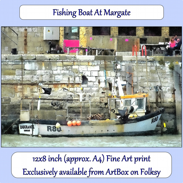 Fishing Boat At Margate - 12x8 inch (approx. A4) Fine Art Print
