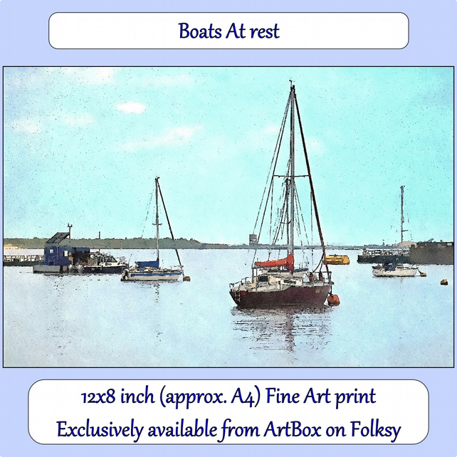 Boats At Rest - 12x8 inch (approx. A4) Fine Art Print - coastal,river art