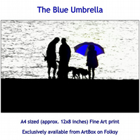 Blue Umbrella - Quality Fine Art Print
