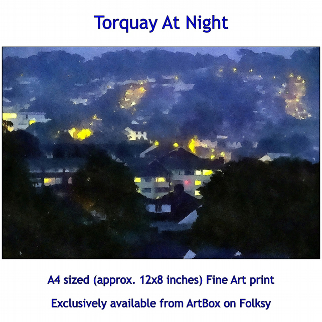 Torquay At Night - Fine Art print, exclusively available through this store