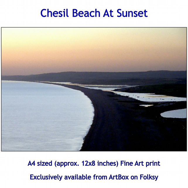 Sunset Across Chesil Beach, Dorset - Quality Fine Art Print