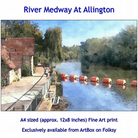 The River Medway At Allington - quality Fine Art Print